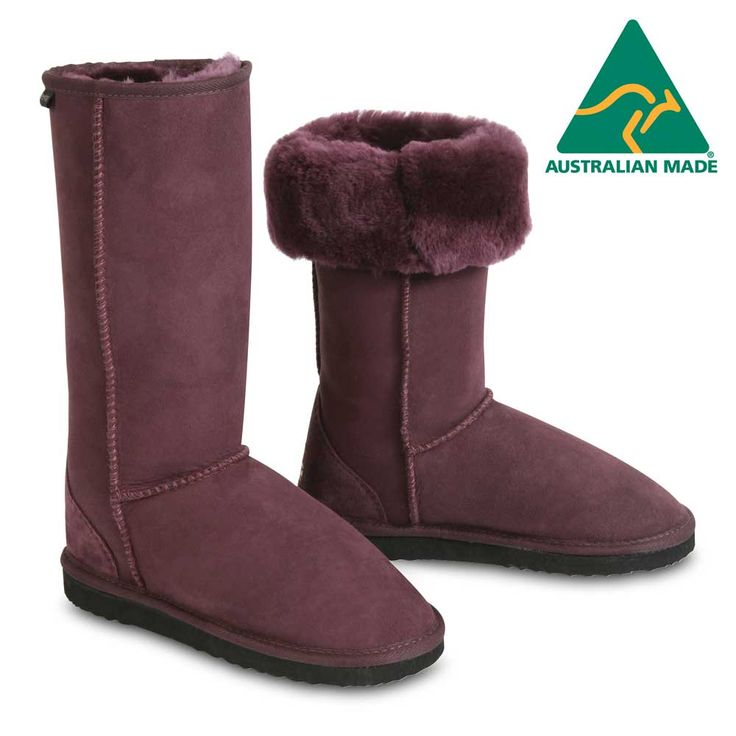 Classic Tall Sheepskin Boots in Plum