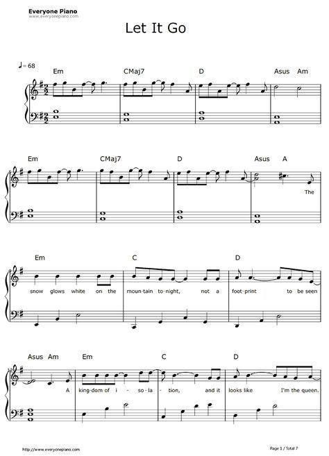 Frozen Let It Go Lyrics Sheet Let It Go Easy Pianovocal Sheet