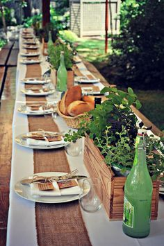 Rustic Garden Party - LSE www.styleinspirationanddesign.com Custom Menus, Vintage Seed Packet Favors, Rustic Placesettings, Herb Centerpieces in Wine Boxes