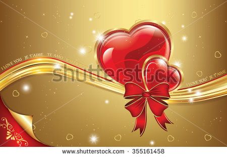 Golden red love background with hearts. Can be used as Valentines day greeting card, love card or wedding invitation. Print colors used.