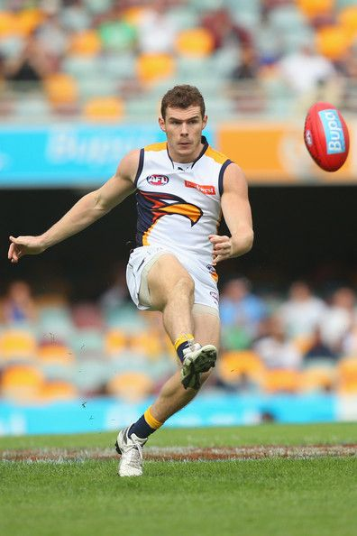 Luke Shuey of the Eagles kicks during the round seven AFL match between the Brisbane Lions and the West Coast Eagles at The Gabba on May 11, 2013 in Brisbane, Australia.