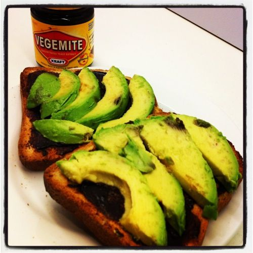 vegemite + avocado toast, classic.