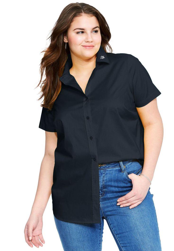 Monogrammed Short Sleeve Perfect Shirt - Women's Plus Size Clothing