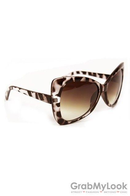 GrabMyLook Vintage Leopard Wild Animal Print Bowknot Shape Frame Sunglasses Eyewear