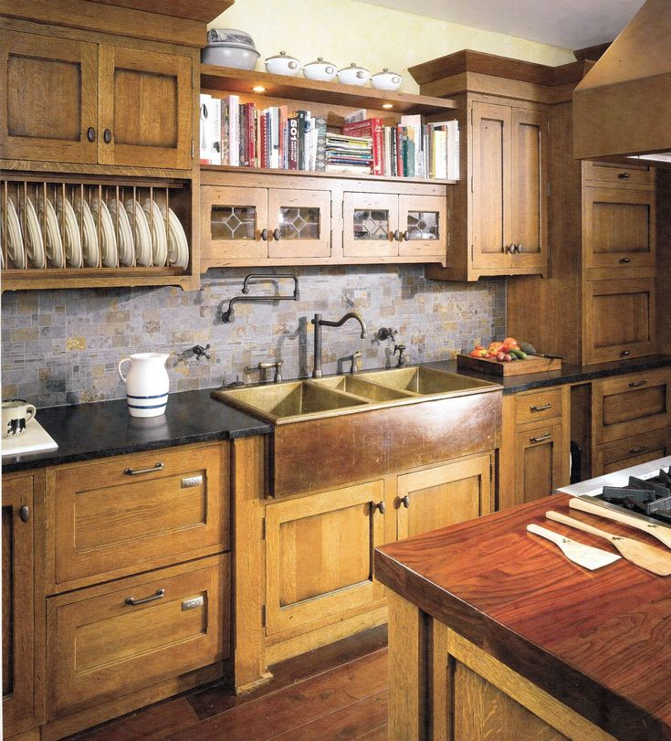 Craftsman Kitchen Inspiration: hoosier style cabinetry, copper farm sink, leaded glass accents - only thing i would change is to do the cabinets white in keeping with the old farm kitchen