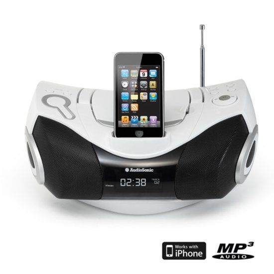 bol.com | AudioSonic CD-1589 - Radio/CD-speler met dockingstation - Wit | Elektronica...