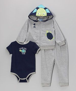 Gray Turtle Hoodie Set - Infant