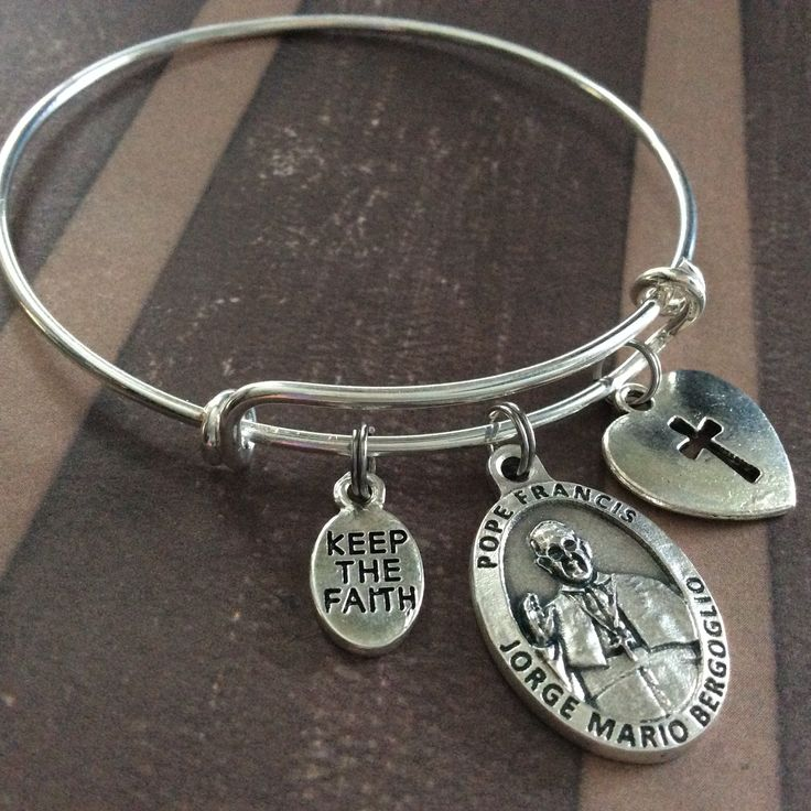 Pope Francis Silver Medal Expandable Charm Bracelet Inspirational Jewelry