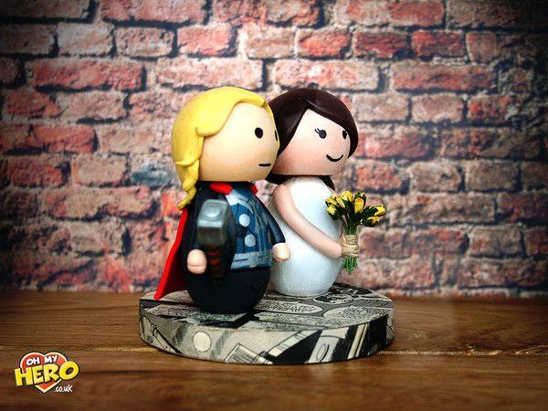 Thor And Bride Superhero Wedding Cake Topper OH MY HERO