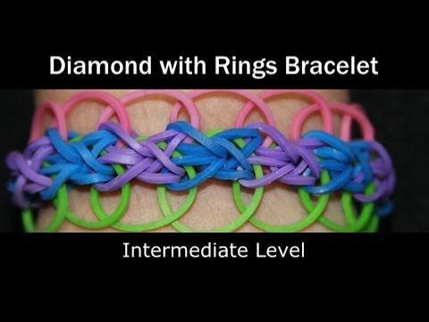 ▶ Rainbow Loom® Diamond with Rings Bracelet - YouTube