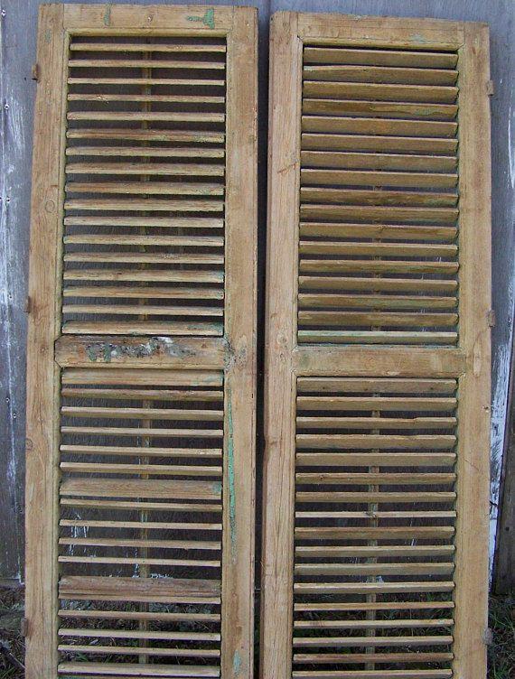 Old Shutters Vintage Two Panel Wood Shutters Mediterranean Wood Shutters Reclaimed Window Shutters Architectural A Wood Shutters Old Shutters Reclaimed Windows