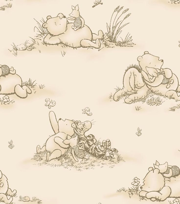 Nursery Fabric Clic Pooh Friends Are Fun Toile