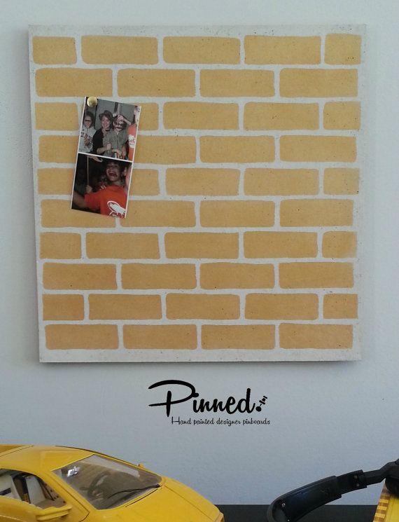 Brick design pinboard hand painted cork board memo by pinnednz #pinboard #corkboard #boysroom #skyline #superhero #comic #speechbubble #lightningbolt http://binaryoptions360review.com/