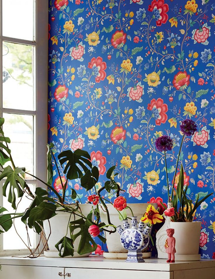 $72.74 Price per roll (per m2 $13.99), Floral wallpaper, Carrier material: Non-woven wallpaper, Surface: Smooth, Look: Matt, Design: Leaves, Flower tendrils, Bugs, Basic colour: Gentian blue, Pattern colour: Beige grey, Blue, Golden yellow, Raspberry red, Patina green, Characteristics: Good lightfastness, Low flammability, Strippable, Paste the wall, Wash-resistant