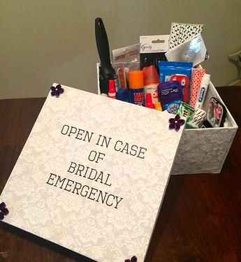 Wedding Day Emergency Kit   I had seen several pins on Pinterest about wedding day emergency kits and I absolutely love the idea! I figured it would help alleviate some of the bride's stress if she knew we were prepared for any eventualities.