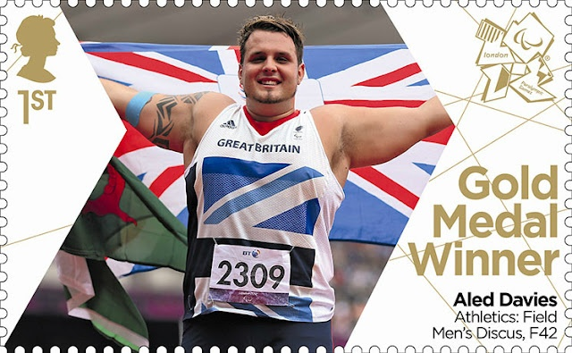 Paralympics Gold Medal Winner stamp - Athletics: Field Men's Discus, F42, Aled Davies.