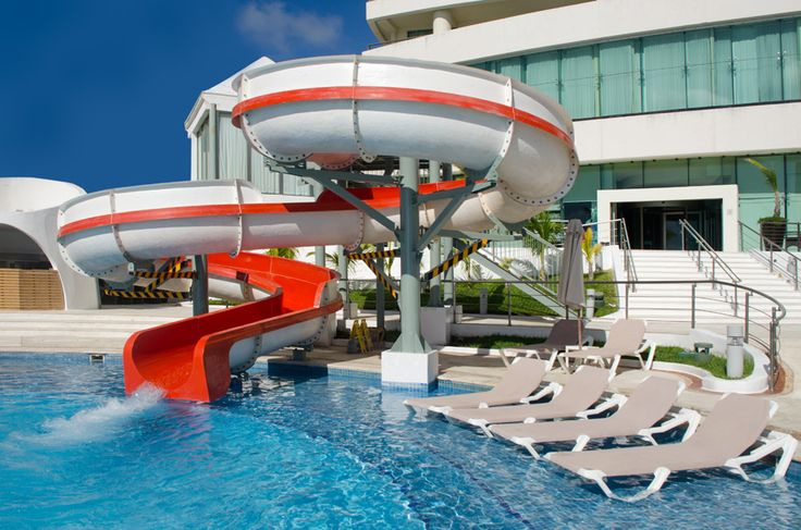 The waterslides found at the Beach Palace Cancun Resort.