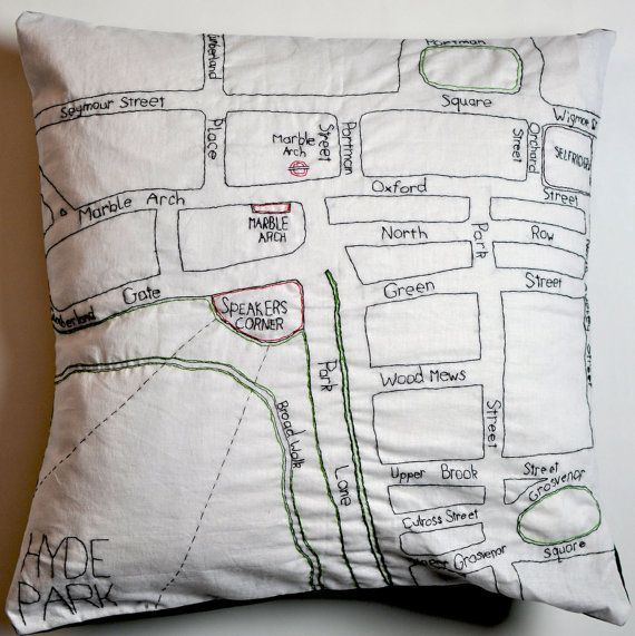 embroidered london map. Stitch City on etsy.