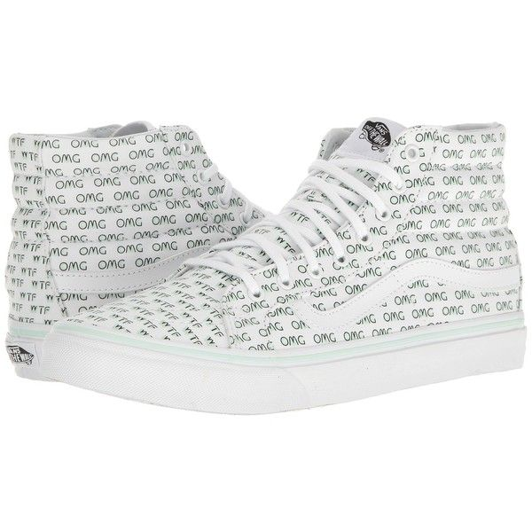 Vans SK8-Hi Slim ((Sayings) True White) Skate Shoes ($65) ❤ liked on Polyvore featuring shoes, sneakers, white high tops, vans high tops, vans shoes, leather sneakers and white leather shoes