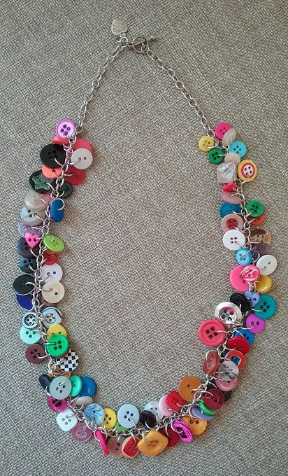 Multi Colored Button Necklace, Upcycled Button Necklace, Button Charm Necklace, Repurposed Button Necklace, Funky Button Necklace by HippieMoonGoddess on Etsy