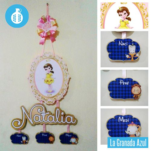 Colgante de maternidad para niña de la princesa de La Bella y la Bestia | baby gril Beauty and the Beast hospital door hanger