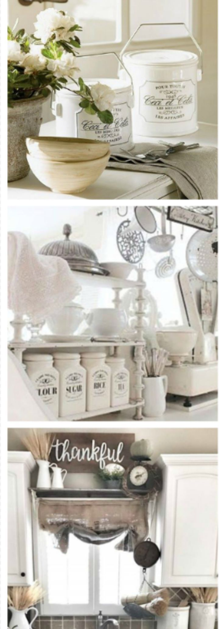 GORGEOUS white country kitchen ideas - perhaps farmhouse kitchen decor or maybe even shabby chic?