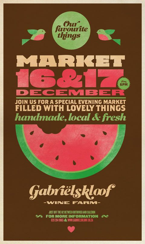 Gabrielskloof market poster - designed by twoshoes graphic design agency <3