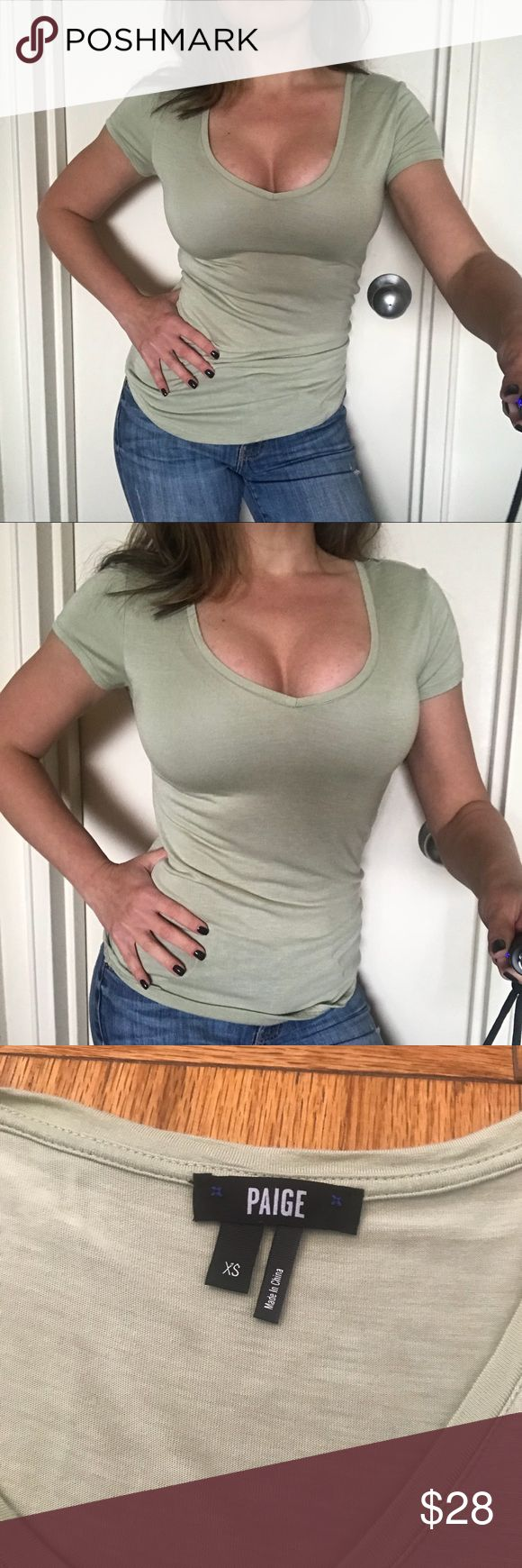 New Paige Premium Denim Women's T Shirt Top XS NWOT  Paige Premium Denim  Women's V Neck Tee Shirt  Size XS 100% viscose  Super soft and light material. Perfect for spring and summer.  Color: light green PAIGE Tops Tees - Short Sleeve