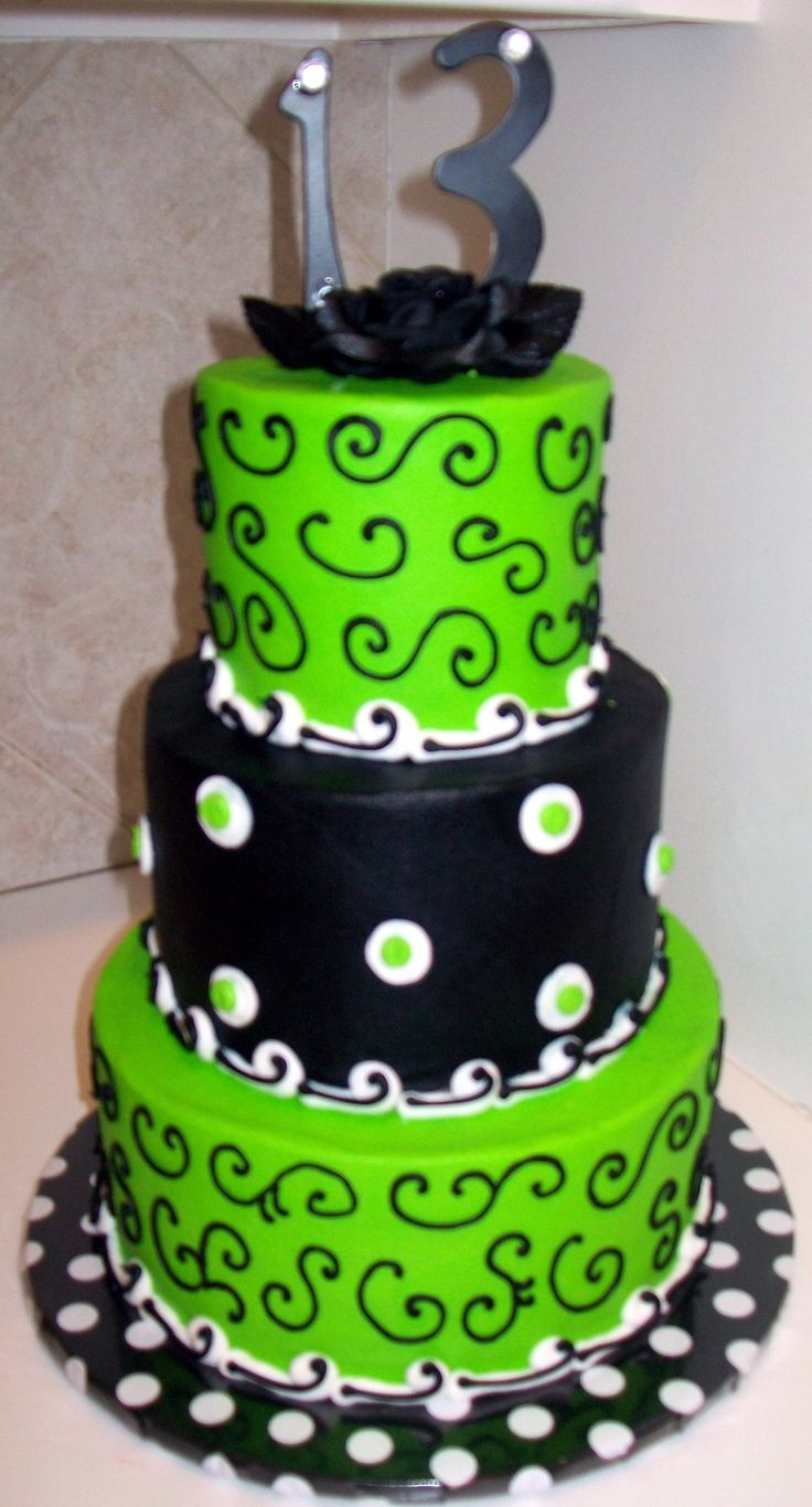 Cake Designs Green : 13th Birthday Lime Green/Black 13th Birthday Party Ideas ...