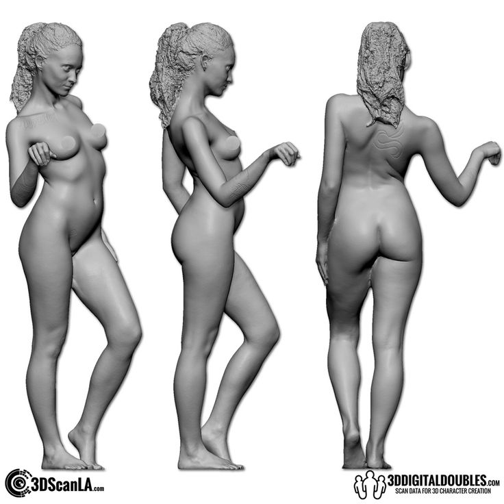 3D Head and Body Scanning for 3D Character Design   Female Body Scan; 35-158, Gray Scale
