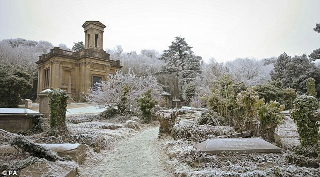 The Victorian Arnos Vale cemetery in Brislington, Bristol, was given a white hue as frost froze vegetation