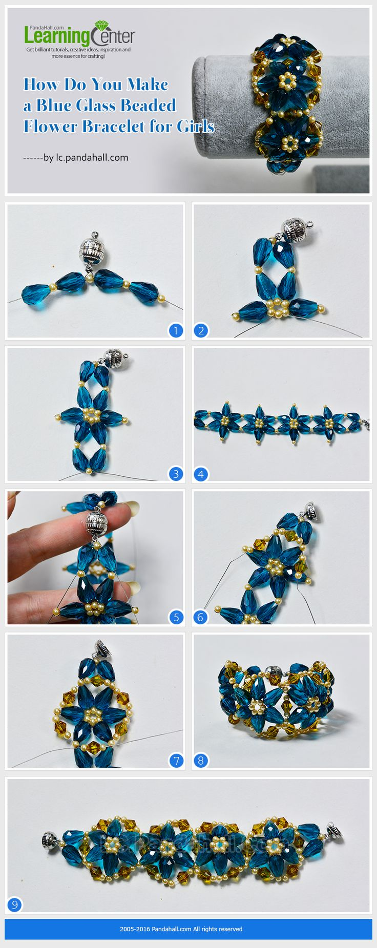 How Do You Make a Blue Glass Beaded Flower Bracelet for Girls from LC.Pandahall.com