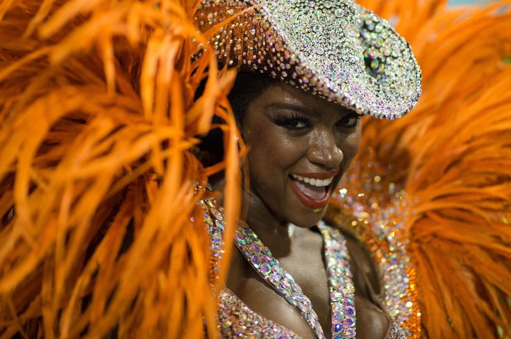 A dancer from the Imperatriz samba school performs during the second night of the carnival parade at the Sambadrome in Rio de Janeiro, Brazil, on February 9, 2016.