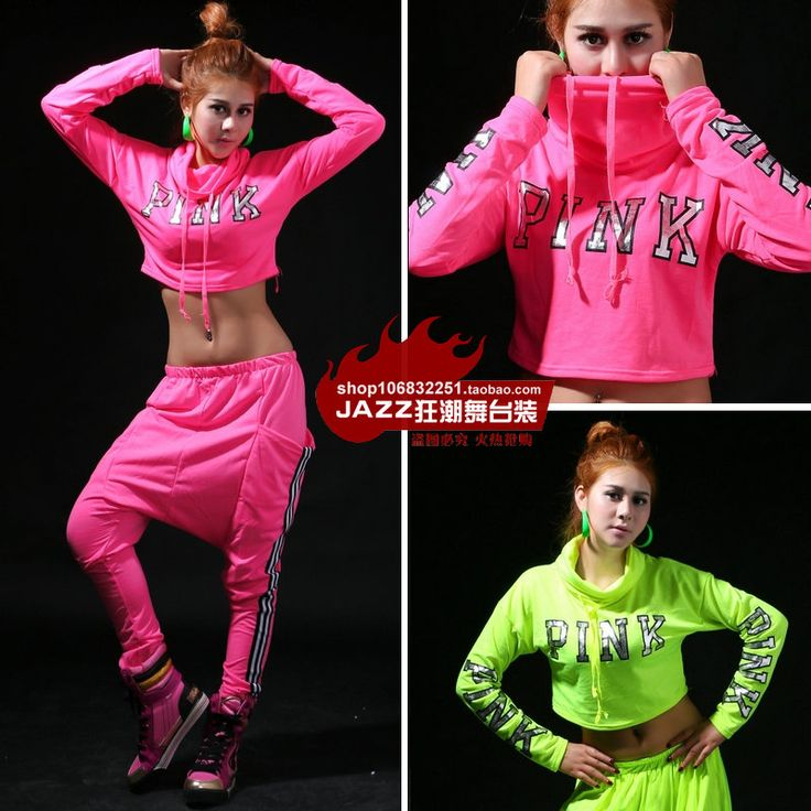 New Spring  fashion casual Jazz long-sleeve Pink Green Top ds costume hip hop neon  Sexy Dance T-shirt