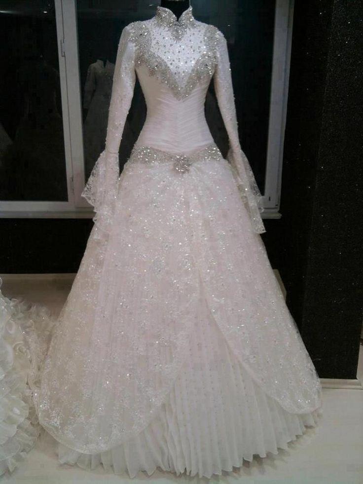 Sequins Beaded Muslim Wedding Dresses 2015 High Neck Long Sleeve Chiffon Ball Gown Zipper Hijab Custom Made Bridal Gowns