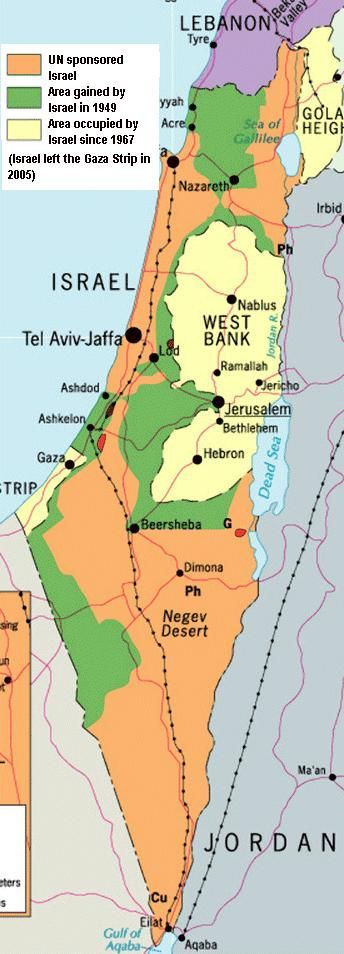 Map of Israel Today | The green region is area the Israelis captured back in 1967. ( Harper ...