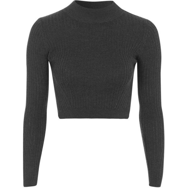 TOPSHOP PETITE Ribbed Wool Blend Cropped Jumper ($34) ❤ liked on Polyvore featuring tops, sweaters, crop tops, shirts, charcoal, petite, shirts & tops, rib shirt, petite shirts and topshop sweaters