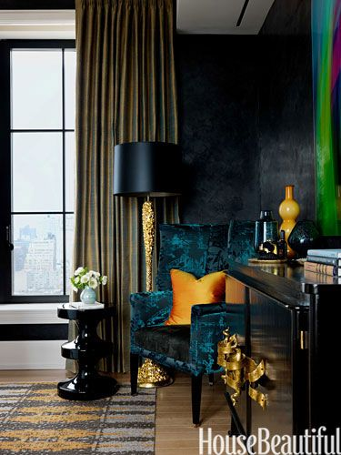 Reflective Surfaces And Jewel Tones Give A Young Womans Bedroom Dazzling Richness