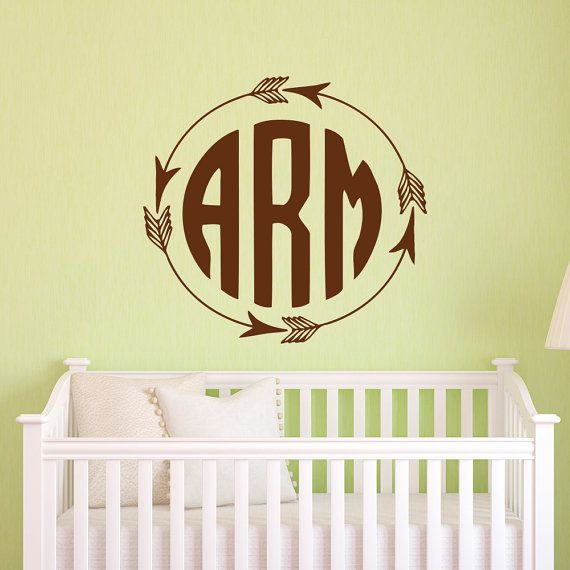 Rustic Monogram Wall Decal Arrow By Fabwalldecals