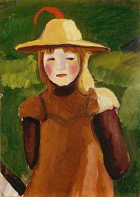 August Macke: Bauernmädchen mit Strohhut. 1910