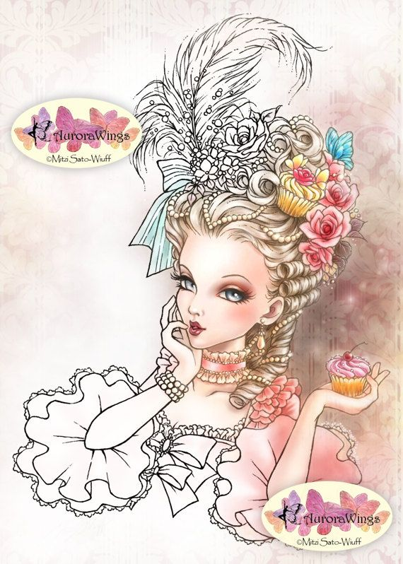 Digital Stamp – Marie Antoinette – Big Hair Rococo Beauty with Cupcake – Fantasy Line Art for Cards & Crafts by Mitzi Sato-Wiuff – Lola Kt