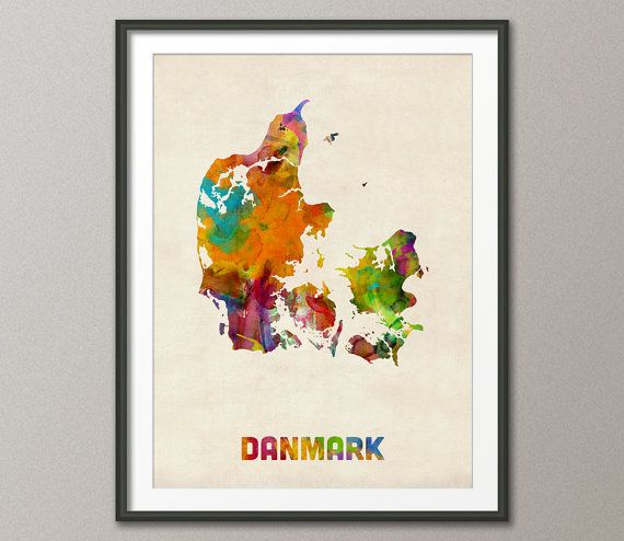 Denmark Watercolor Map Danmark Art Print 516 by artPause on Etsy, £12.99
