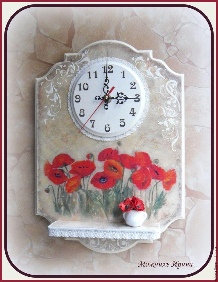 """часы с полочкой """"Цветочные"""""""