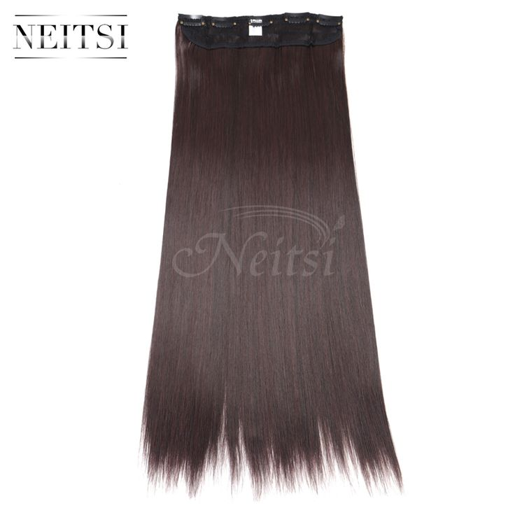 """Neitsi 22"""" M2/33# 5Clips Synthetic Clip In On False Hair Extensions Straight Long Braiding Hairpieces For Women Fast Shipping"""