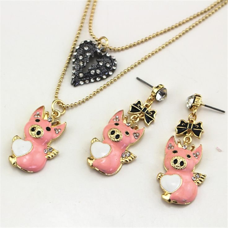 2015 new hot Free shipping The new angel bj necklace the pig earring set //Price: $3.95 & FREE Shipping //     #hashtag1