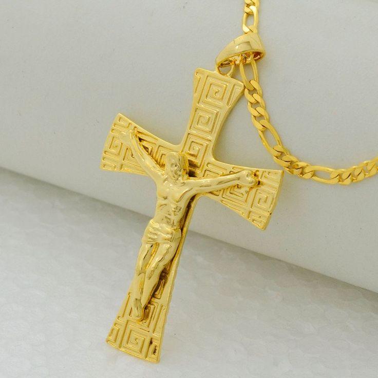 8 best jesus crucifix necklace images on pinterest 18k gold cross jesus cross men pendant necklace 18k gold plated aloadofball Image collections