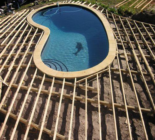 Deck Framing Around Pool | pool | Kids | Pinterest | Deck ...