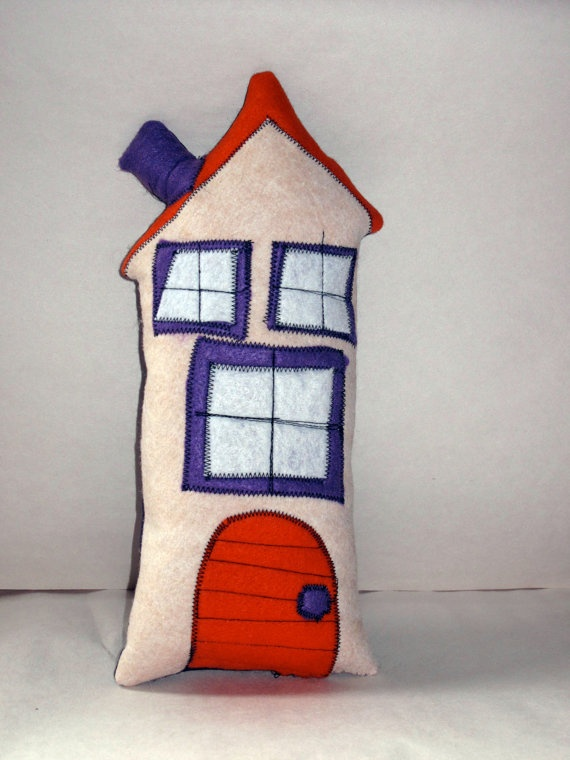 Tall cuddly sweet house pillow by artist Amy Wilson via ephemeraldesign on Etsy. I can't get enough of these!