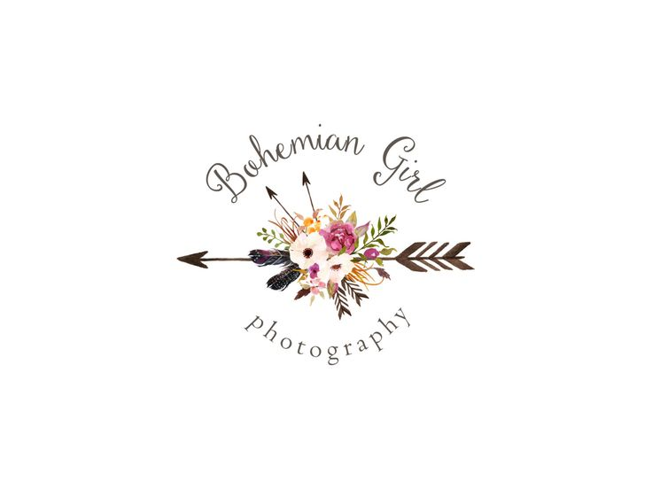 Photography logo and watermark premade watercolor flowers logo design bohemian logo vintage tribal floral arrow logo custom design 105 (15.00 USD) by StellarGraphic