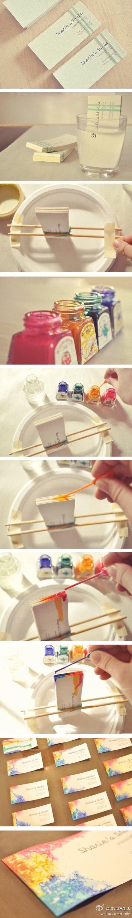 DIY Business Card Colorful Paint Idea